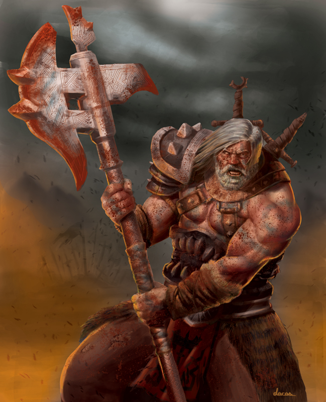 Drawn dwarf barbarian warrior Cás Da Barbarian Guilherme warrior