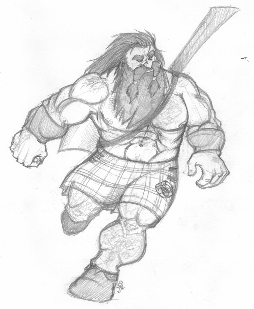 Drawn dwarf barbarian warrior Gunnar on MacCateran Ragrfisk MacCateran