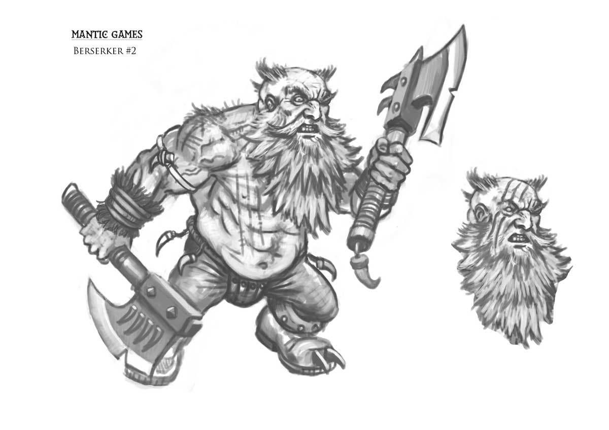 Drawn dwarf berserkers Concept Sketch is Games Berserkers!