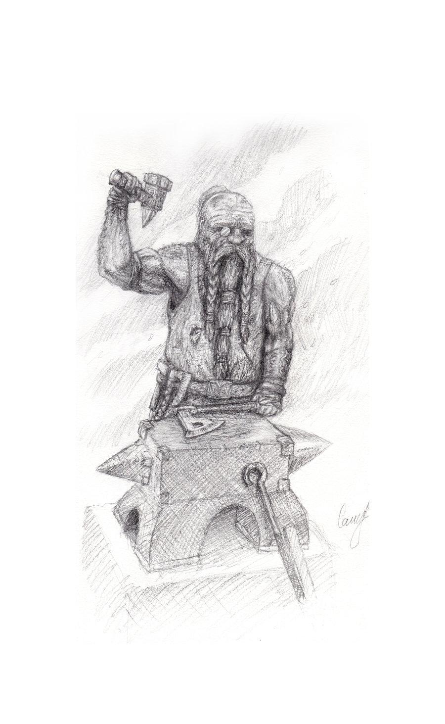 Drawn dwarf blacksmith Dwarven art art on by
