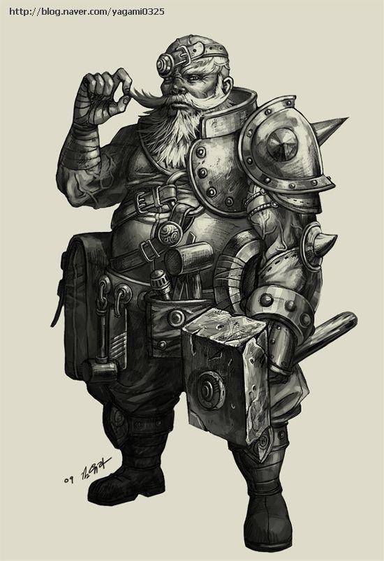 Drawn dwarf blacksmith Blacksmiths dwarf Pinterest GoddessMechanic miners
