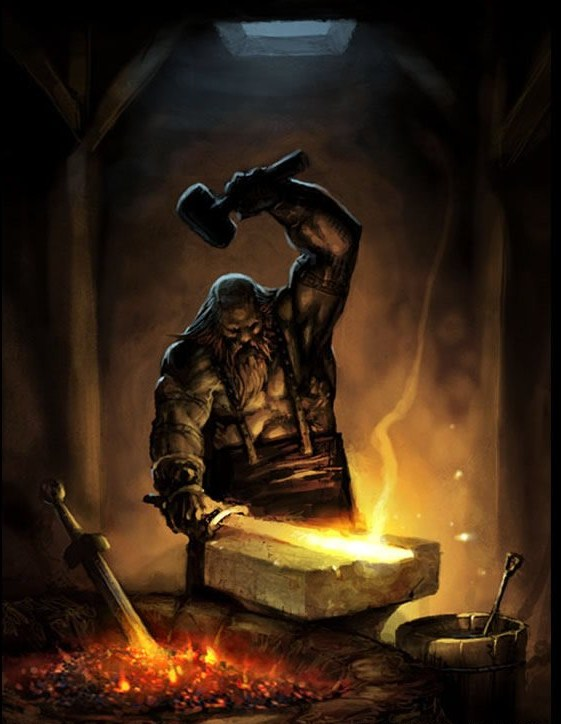 Drawn dwarf blacksmith God Hephaestus Loner Inventor Jackson