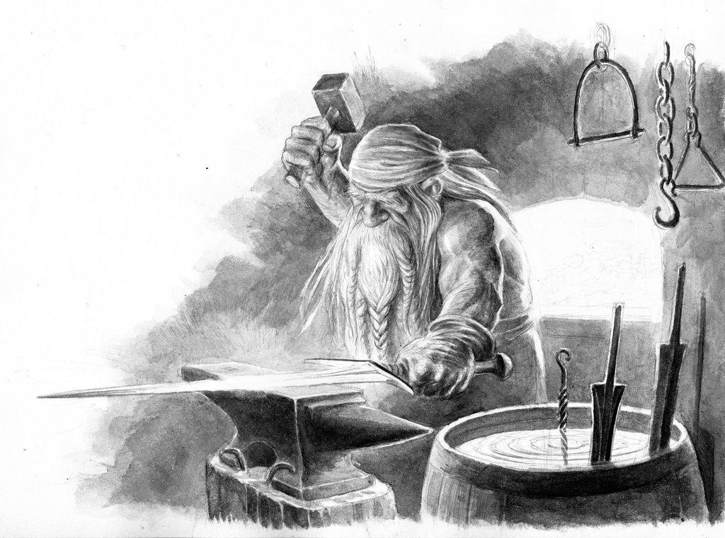 Drawn dwarf blacksmith Smith Dwarven One Ring TurnerMohan