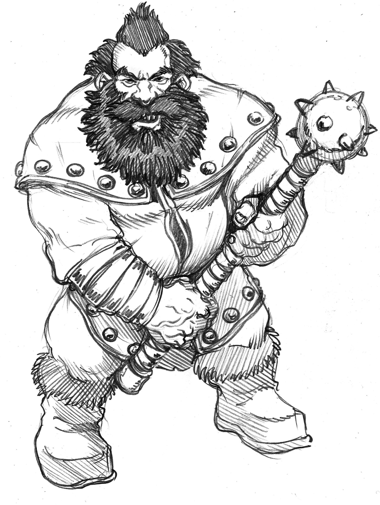 Drawn dwarf gnome With a with on by