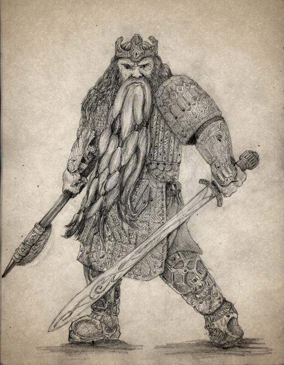 Drawn dwarf hobbit Thorin drawing