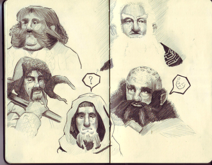 Drawn dwarf hobbit Hobbit dwarf kanji sketch on