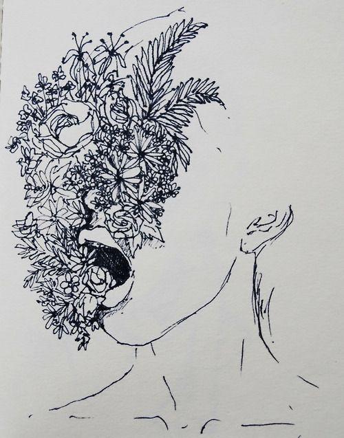 Drawn photos artsy Flowers art indie deep girl