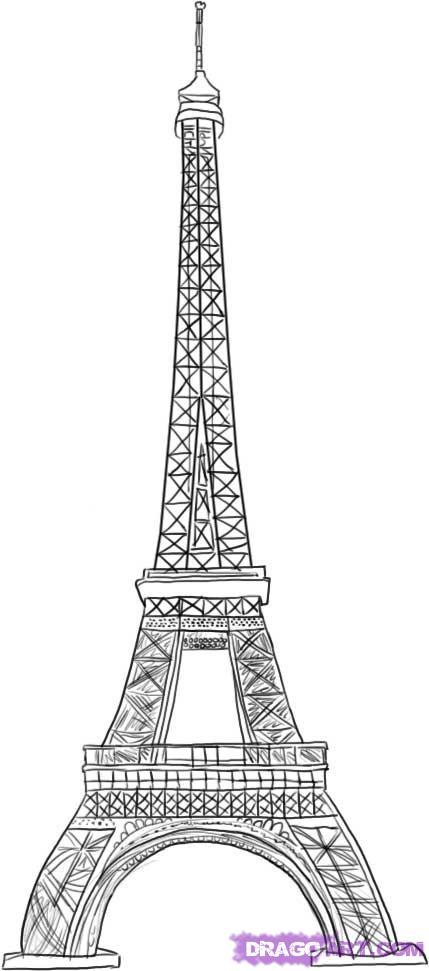 Drawn eiffel tower How Step how 6 draw