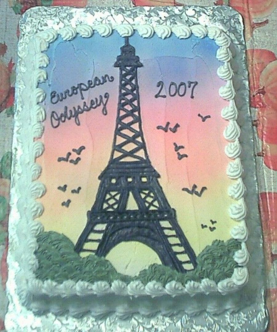 Drawn cake eiffel tower Cake Writing The With With