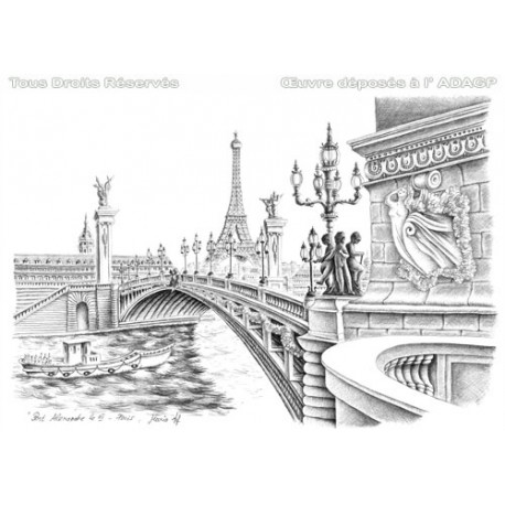 Drawn background drawing nature Alexander in Eiffel bridge bridge