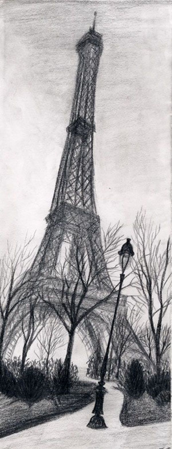 Drawn scenic creative And Beautiful Eiffel  tower