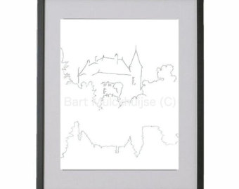 Drawn eiland black and white In of Original drawing Leiden