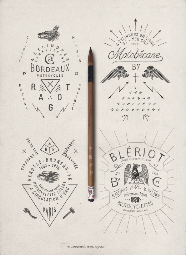 Drawn typography branding BMD Vintage Styled and Illustrations