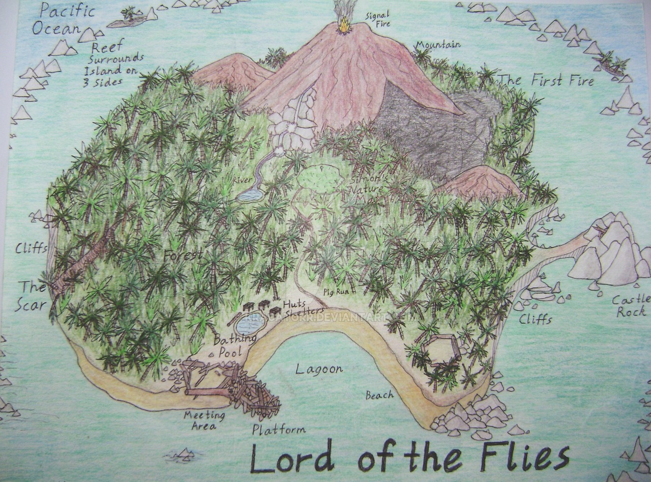 Drawn island lotf Flies  by of the