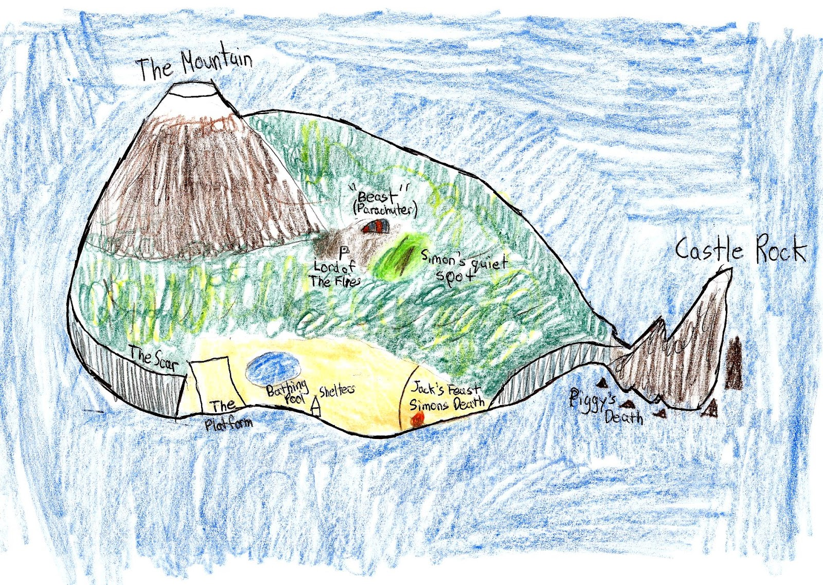 Drawn island lotf 3 Map of Reflection Section