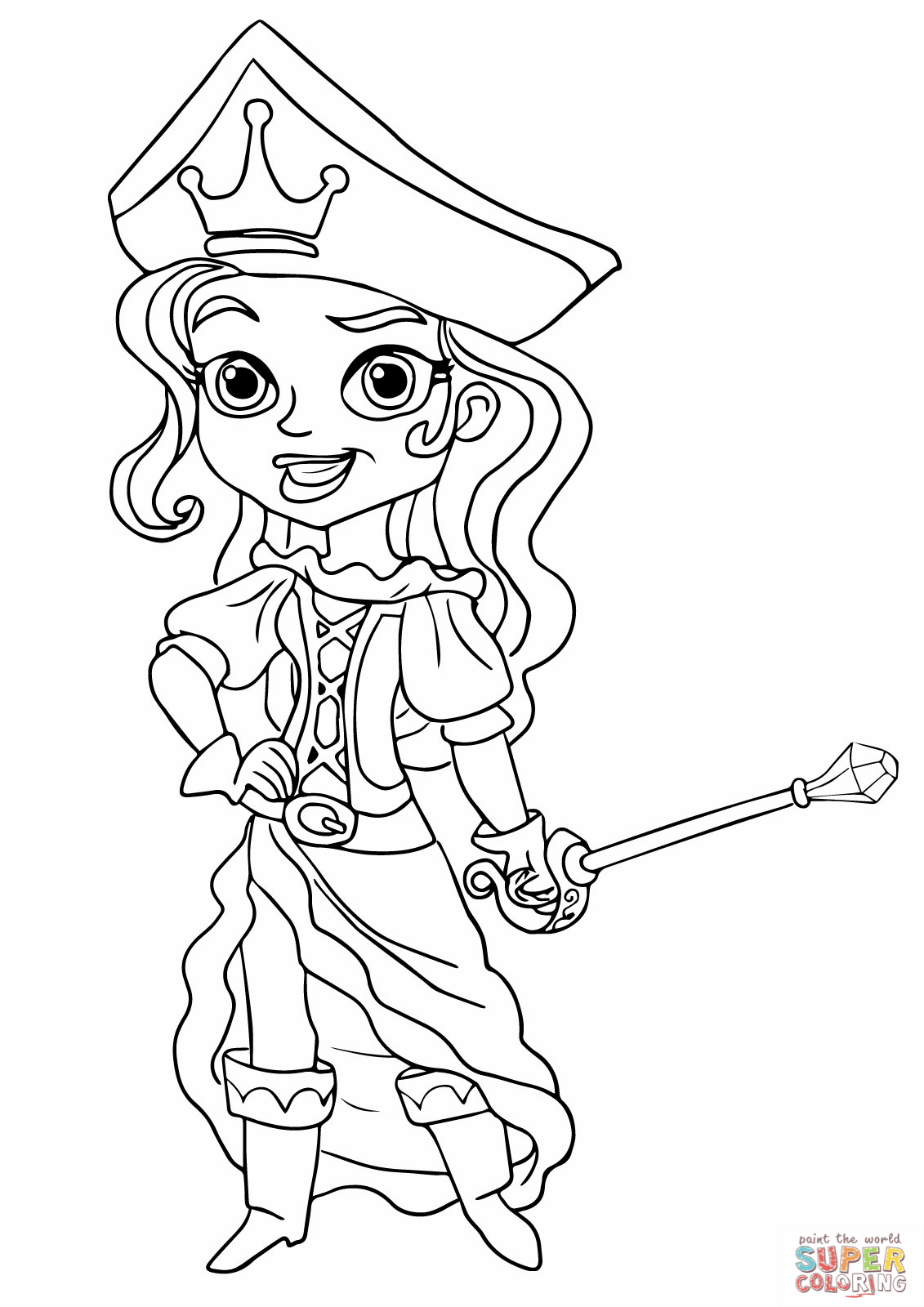 Drawn eiland neverland Coloring and pirates princess page