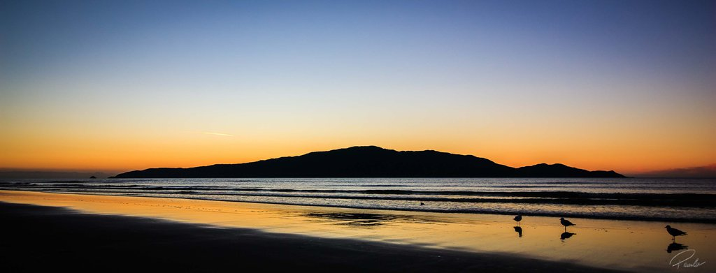 Drawn eiland sunset Zealand Sunset New Island Waikanae