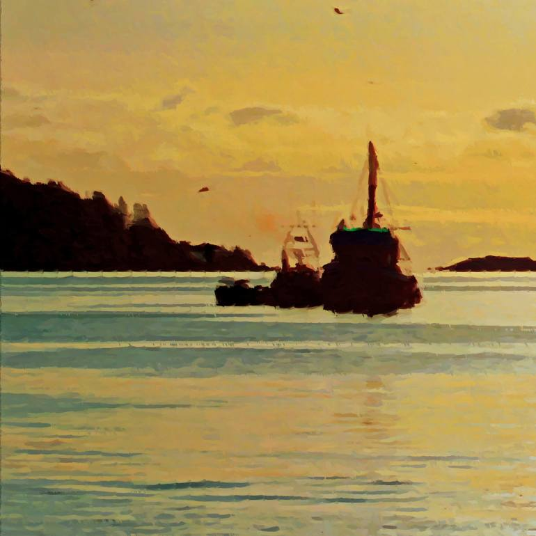 Drawn eiland sunset Art: additional Saatchi Drawing image