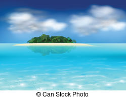 Drawn eiland tropical island And background illustration Vector free