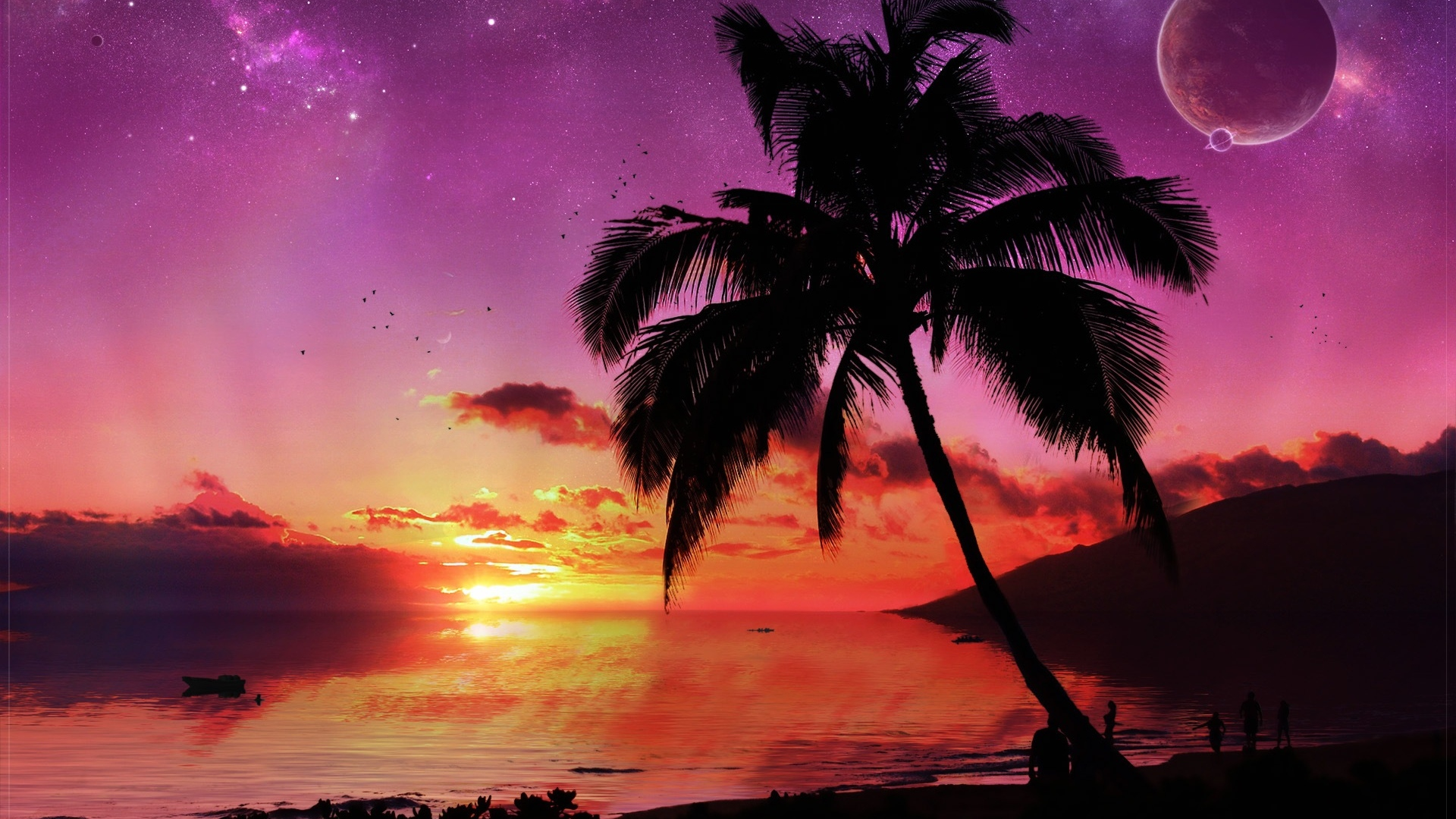 Drawn eiland tropical island Tropical Paradise Sunset Wallpaper Tropical