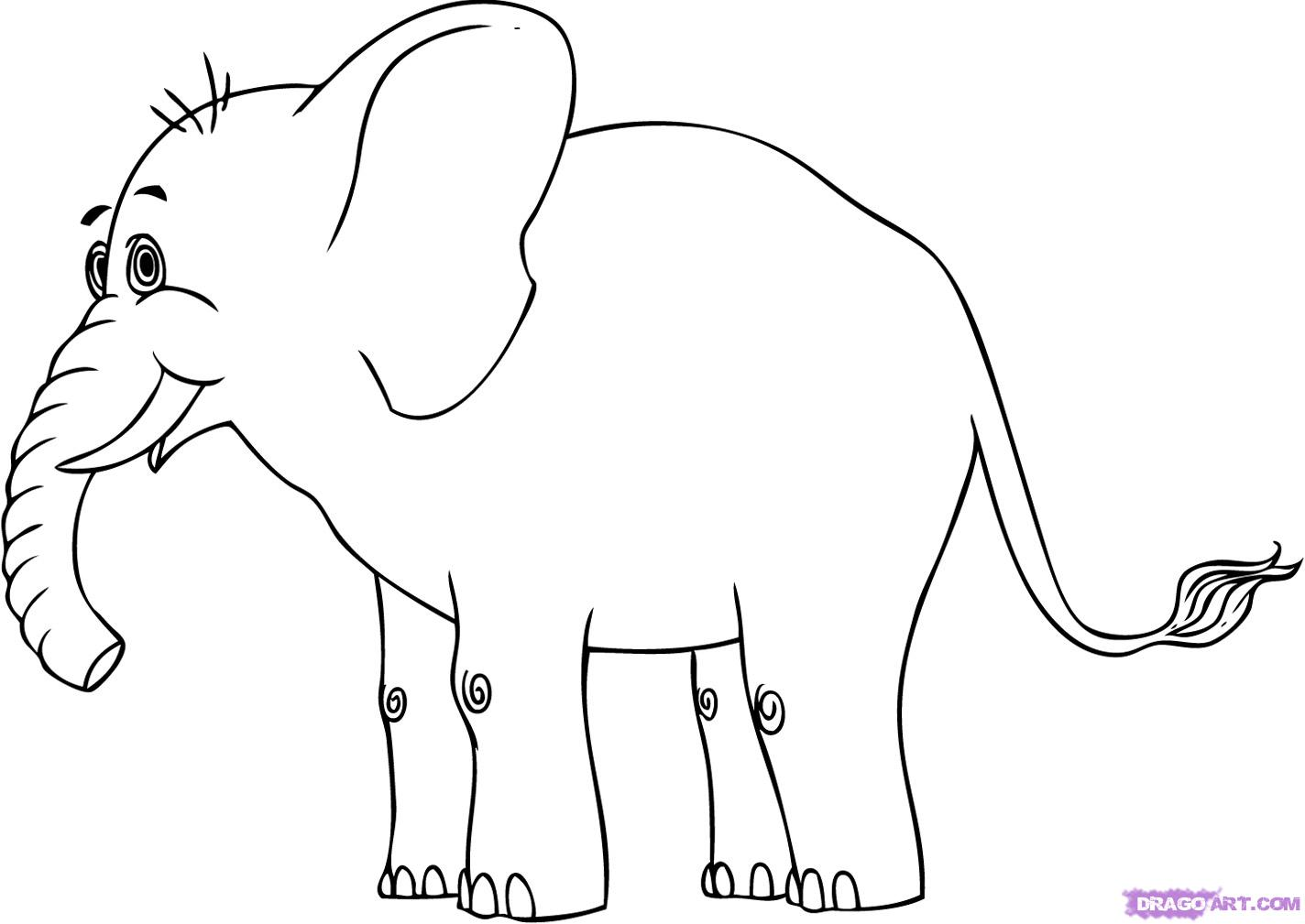 Drawn elephant To step Cartoon cartoon How