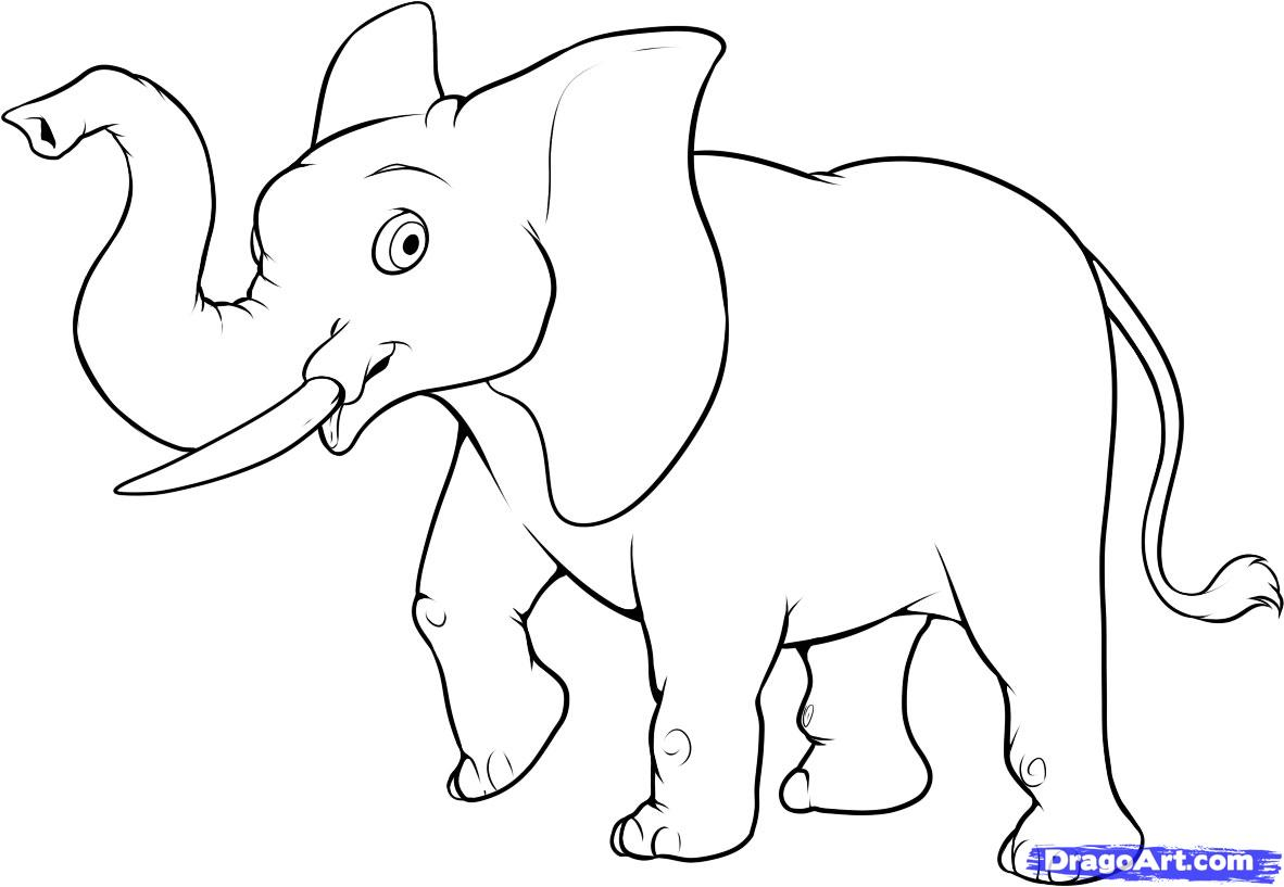Drawn elephant To step Easy easy How