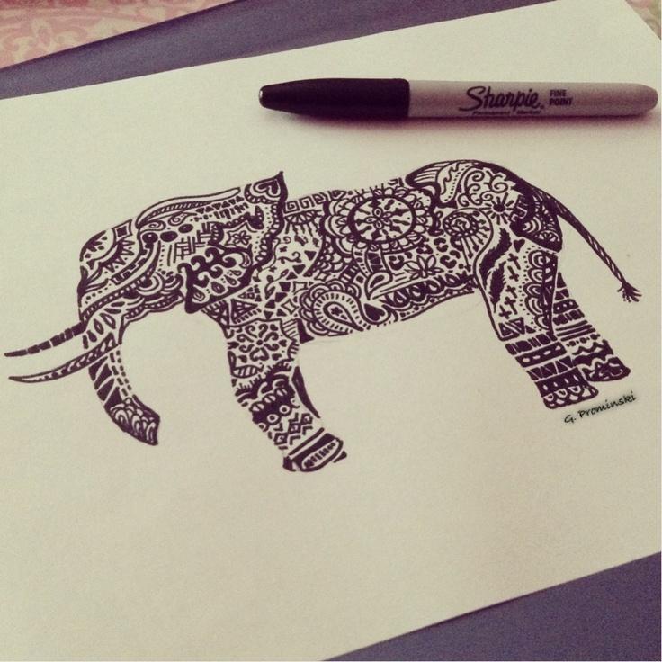 Drawn photos artsy #simple #elephant #art #sharpie Elephant