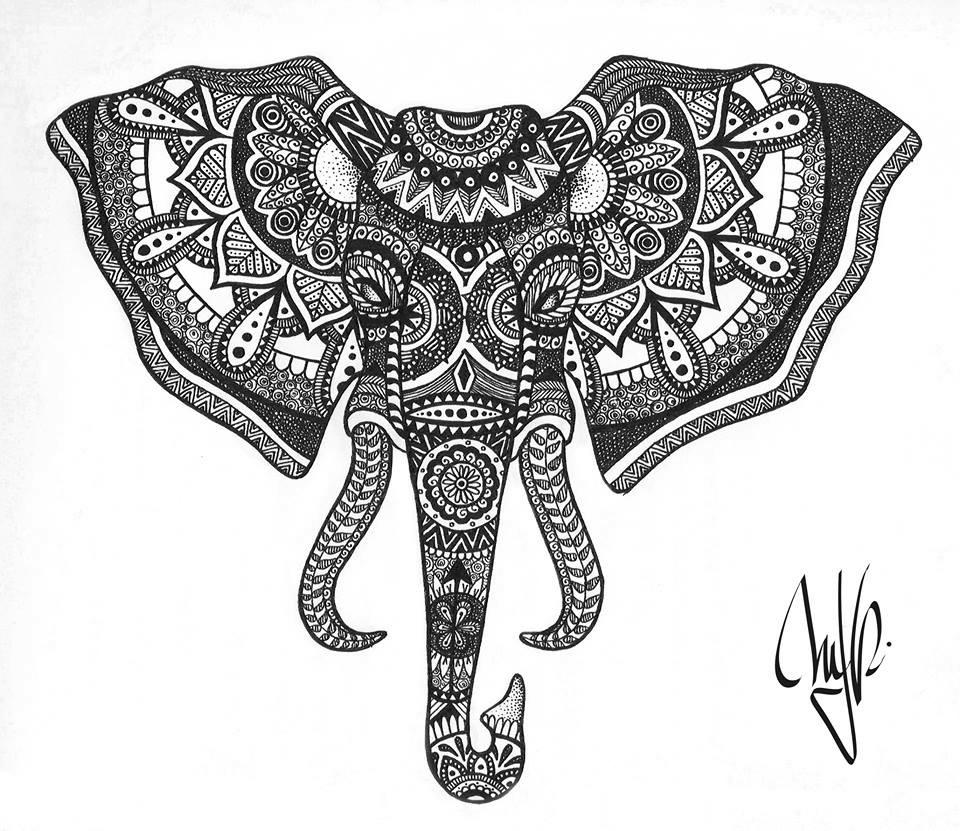 Drawn bull black and white @mjrart Zentangle ethnic white Zentangle