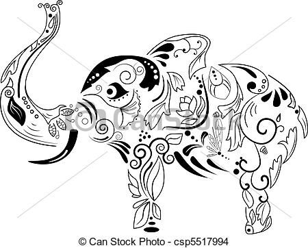 Asian Elephant clipart line art On picture Elephant Vector Vector