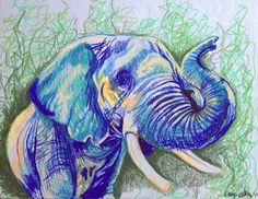 Drawn stare crayon Day:  pastels Elephant Pin