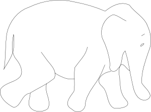 White Tiger clipart b&w Clker Elephant Outline  Clip