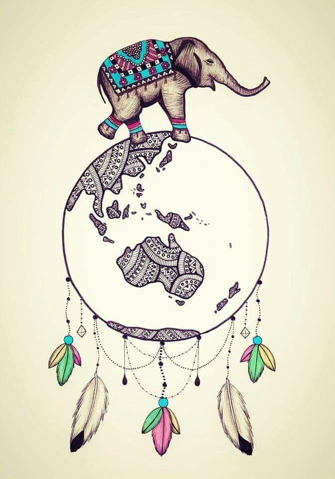 Drawn trolley elephant Dream catcher ideas Hippie Hippy