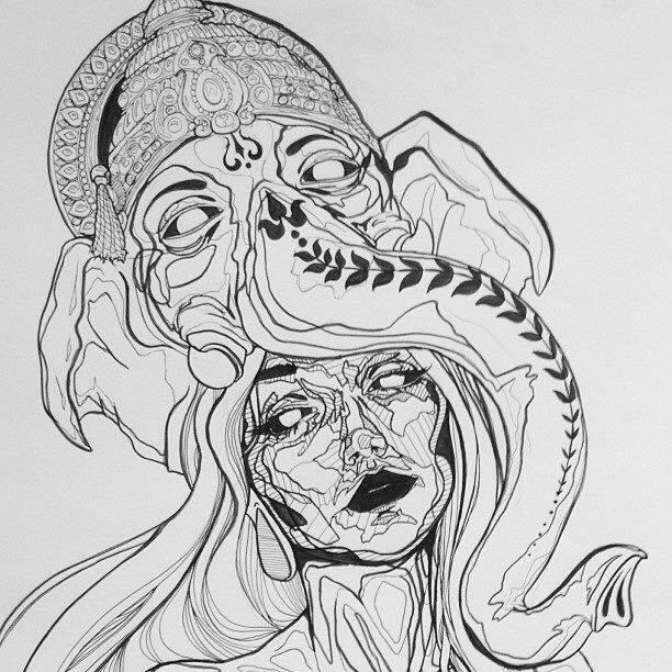 Drawn triipy dragon Monochrome; Drawing; Elephant; Drawing; Art