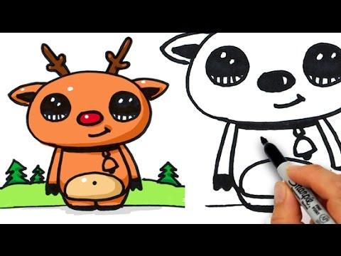 Drawn reindeer kawaii How Reindeer Nosed Easy Red