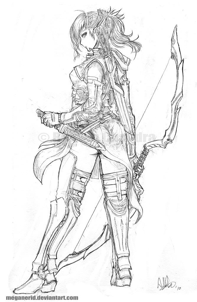 Drawn figurine female archer Ranger MeganeRid com by Aniera