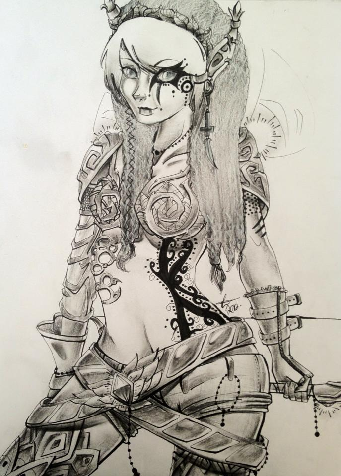 Drawn elf wood elf #14