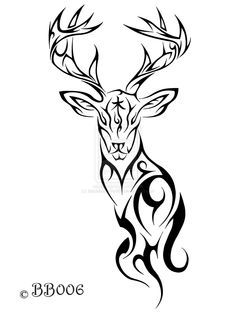 Drawn reindeer tribal Dragon and Celtic tattoos Celtic