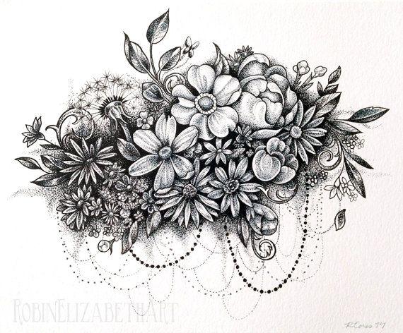 Drawn collage flower #3
