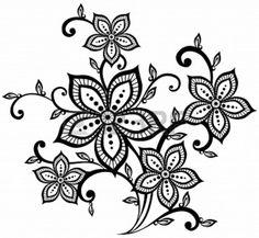 Drawn photos lace flower Stencil Flower Template/ 5 Rose