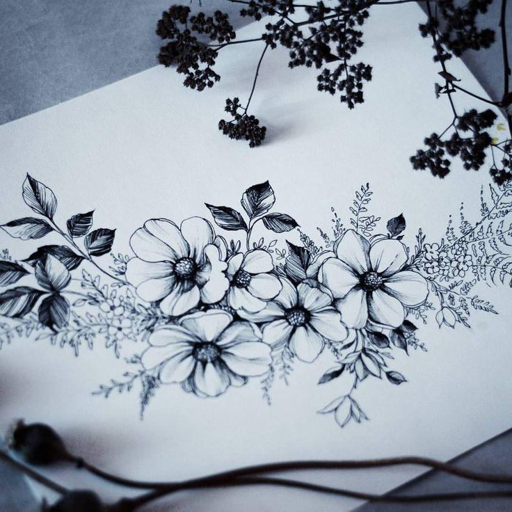 Drawn collage flower #5