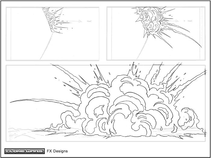 Drawn explosions Wars Clone Wars: Library: drawing