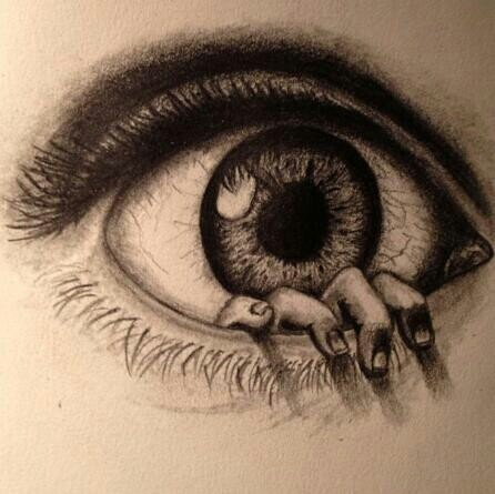 Drawn eye With Human drawing coming eye