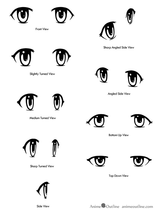 Drawn smile side view Anime eyes Anime Anime from