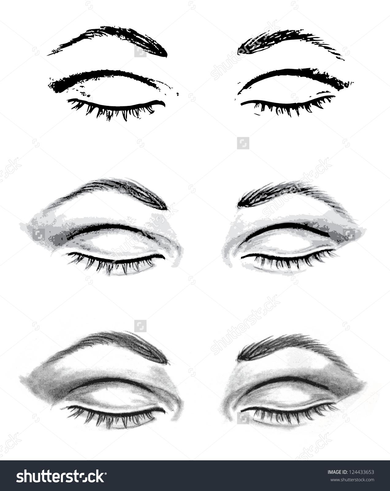 Drawn eye closed Closed Auto Eyes And Sketch