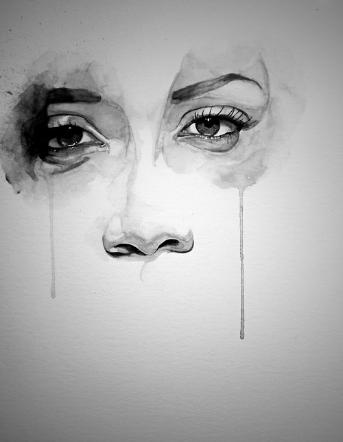 Drawn tears black and white Girl Black drawing depression drawing