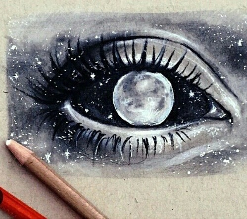 Drawn star different And white drawings eye black