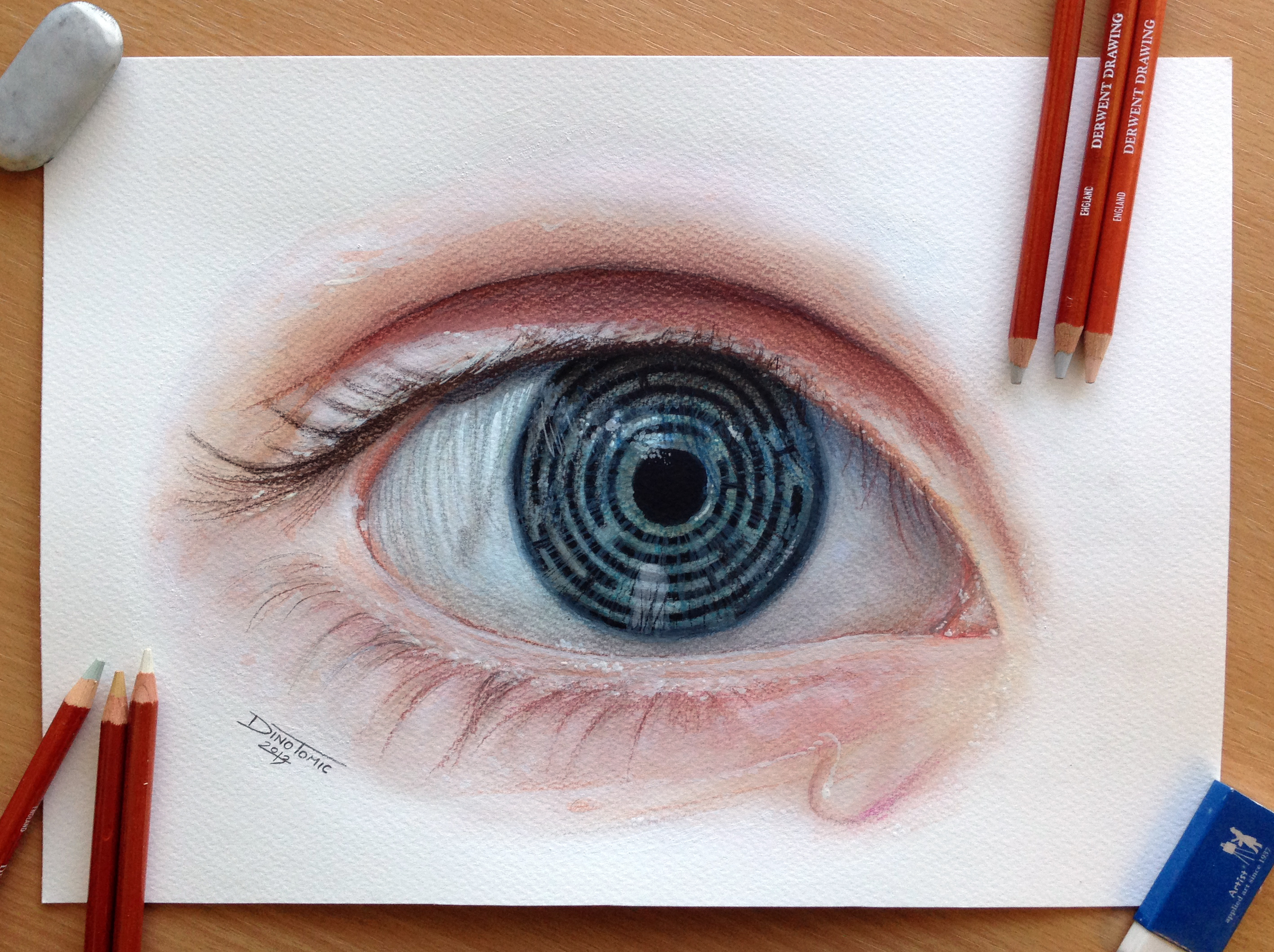 Drawn maze pencil Illustration round eye Dino by