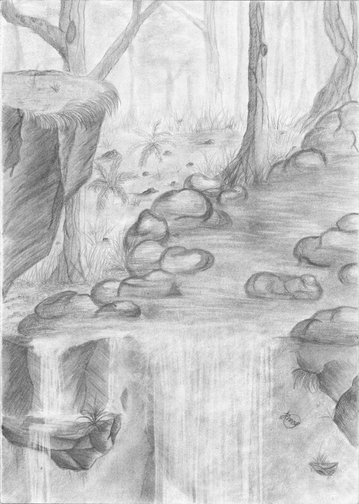 Drawn amd waterfall Of Pencil Pencil The Drawings