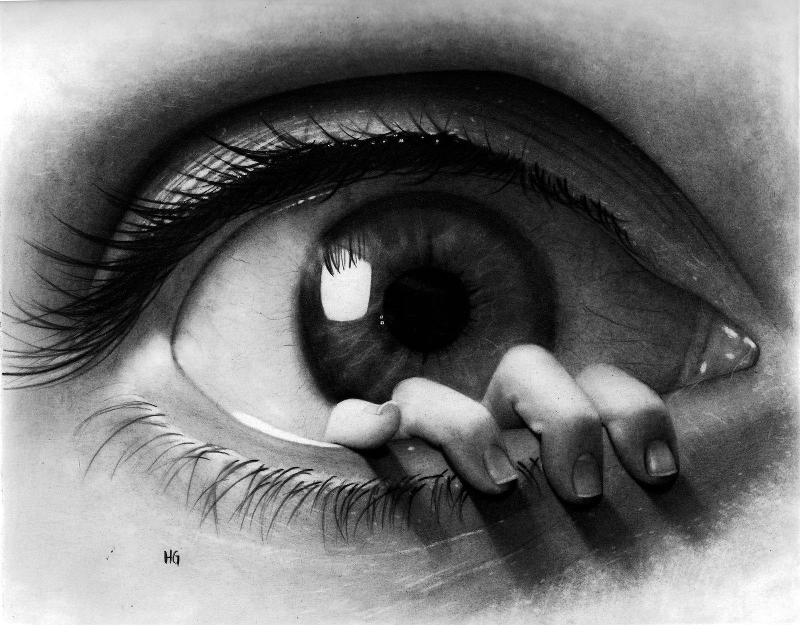 Drawn eyeball black and white Background HD  Black 1600x1250