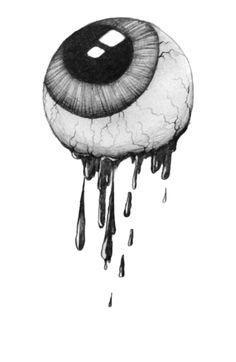 Drawn eyeball black and white Black and blood more White